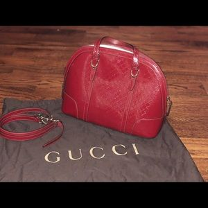 Preowned Authentic Gucci Red Patent Leather Logo